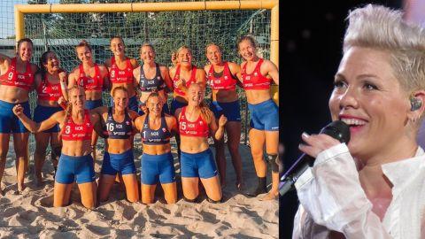 Pink bancó al equipo de handball femenino de Noruega